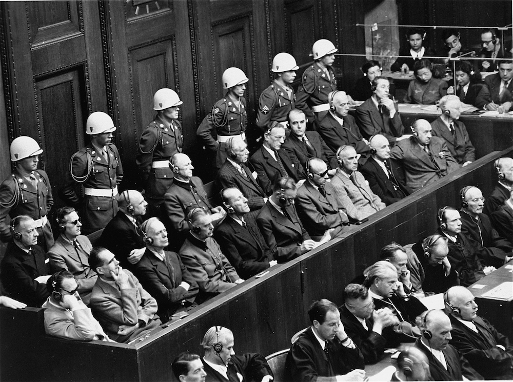 The defendants in the dock at the International Military Tribunal at Nuremberg. US Holocaust Memorial Museum, courtesy of John W. Mosenthal